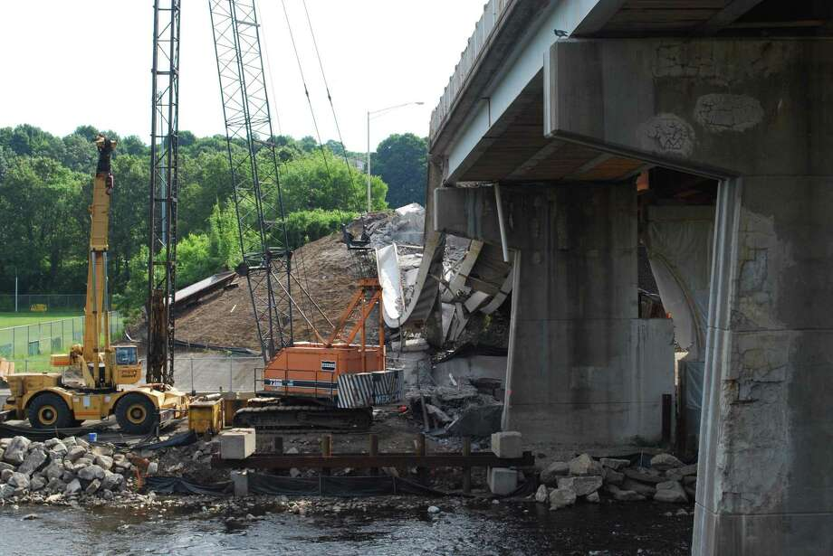 Salem Bridge, in Naugatuck, which collapsed Tuesday morning sending one person to the hospital. (RONALD DeROSA/Register Citizen)