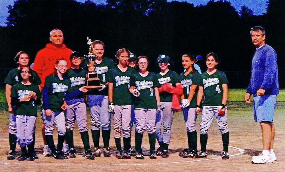 SUBMITTED PHOTO - From left to right, Mariah Duteau, Sammy Pawlak, Angie Koning, Hannah Bibisi, Kelsey White, Kayla Pieta, Lydia Warren, Briana DiMartino, Arianna Biales, Adrianna Spada and Gabby Koziel pose with coach Brian White and the city championship trophy.