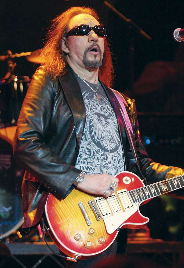 Musician Ace Frehley, founder and lead guitarist of KISS, is shown performing on stage with his solo band in the Wolf Den Lounge at the Mohegan Sun Casino Friday, March 19. (John Atashian