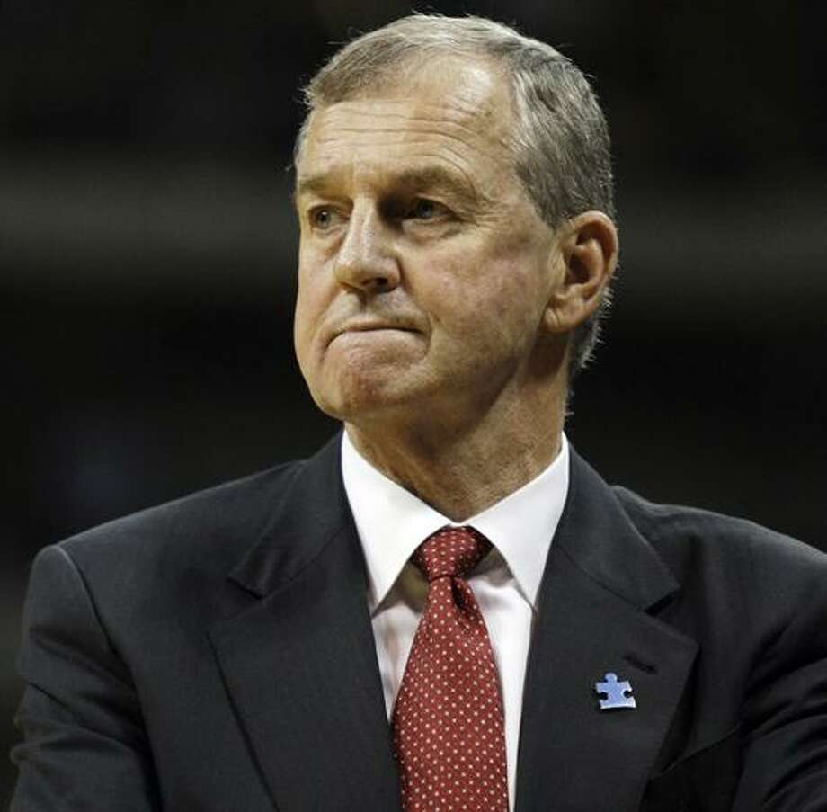 In this March 7, 2009, file photo, UConn coach Jim Calhoun reacts during the second half of an NCAA college basketball game against Pittsburgh. (AP Photo/Carolyn Kaster, File) Photo: AP / AP2009