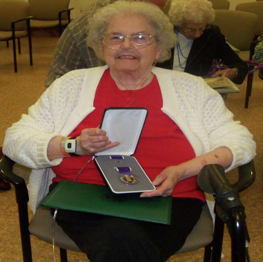 Pearl Grady with the Purple Heart Award