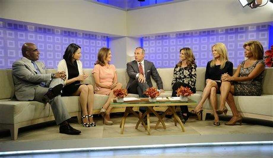 "In this photo provided by NBC, from left to right, ""Today"" show co-hosts Al Roker, Ann Curry, Matt Lauer, Natalie Morales, Kathie Lee Gifford and Hoda Kotb talk about their favorite ""Meredith"" moments on the ""Today"" show, Tuesday, in New York. Wednesday is Vieira's last day on the show.  (AP Photo by/Peter Kramer, NBC) Photo: AP / © NBCUniversal, Inc."