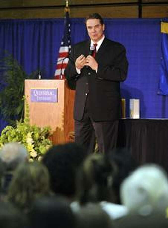 "Greg Mortenson delivering a speech titled ""Stones Into Schools"" Tuesday, March 2, at Quinnipiac University. (Contributed photo)"