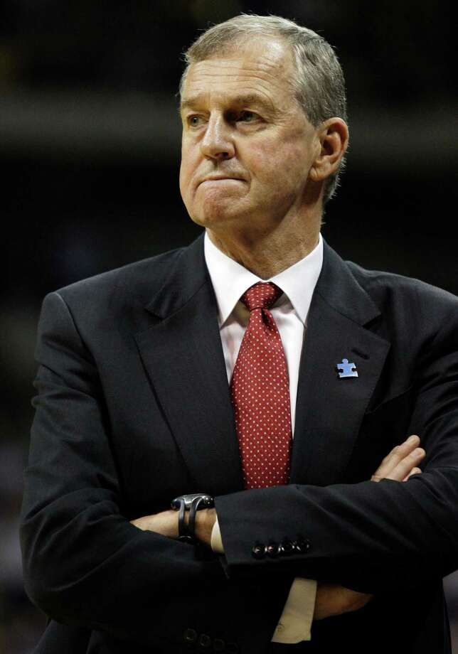 In this March 7, 2009, file photo, Connecticut coach Jim Calhoun reacts during the second half of an NCAA college basketball game against Pittsburgh in Pittsburgh. The University Connecticut says its men's basketball program committed major NCAA recruiting violations. The school imposed its own sanctions, including two years' probation and a loss of one scholarship for the next two seasons. (AP)