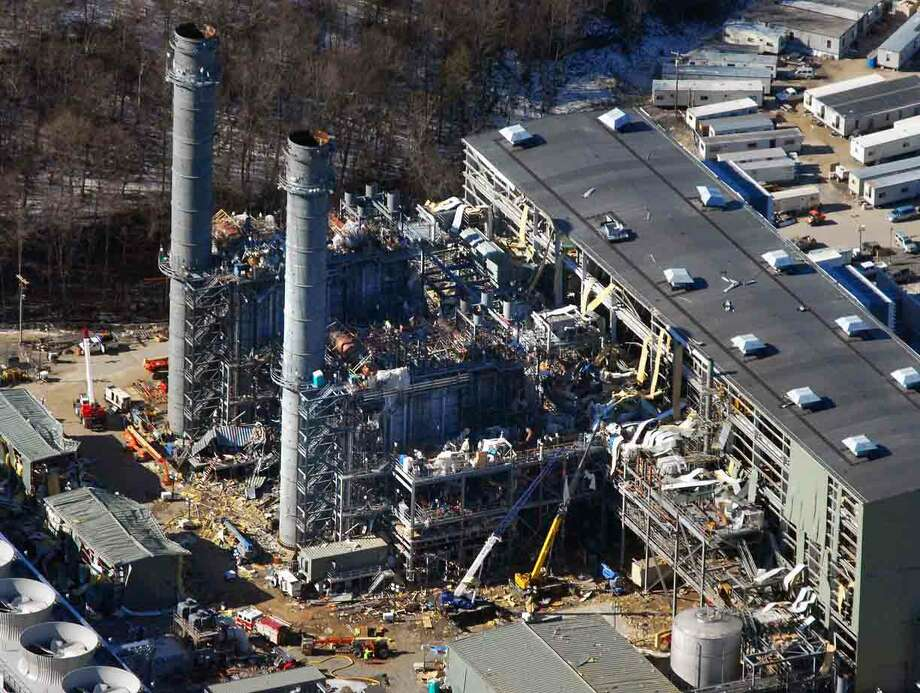 An aerial view of the Kleen Energy plant after the deadly Feb. 7 blast in Middletown.