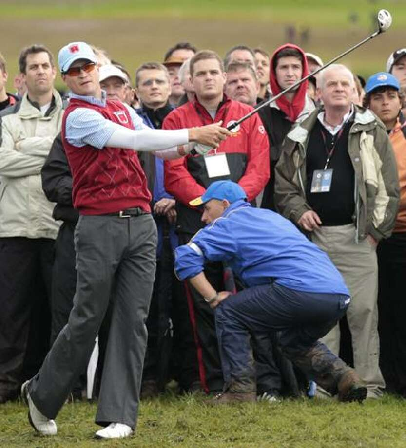 Zach Johnson plays a shot from the 11th tee on the third day of the 2010 Ryder Cup golf tournament at the Celtic Manor Resort in Newport, Wales, Sunday, Oct. 3. (AP Photo/Matt Dunham) Photo: AP / AP