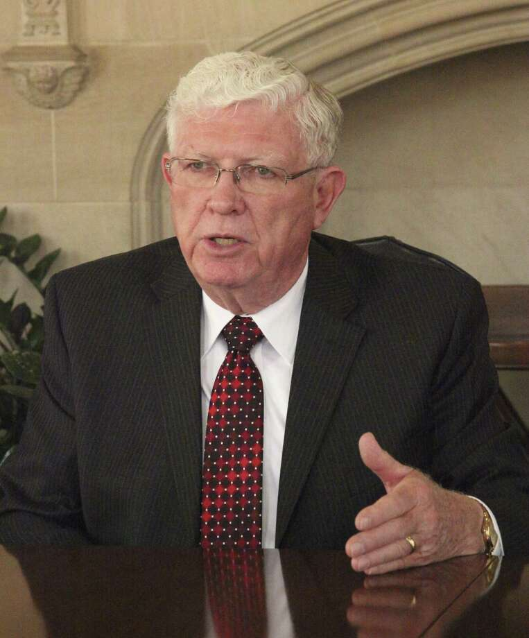 """Alamo Colleges board president James """"Jim"""" Rindfuss, then 76, spoke to the Express-News editorial board in 2014. The board is taking applications to appoint a trustee to fill the vacancy left by his death last month. Photo: Juanito Garza /San Antonio Express-News / San Antonio Express-News"""