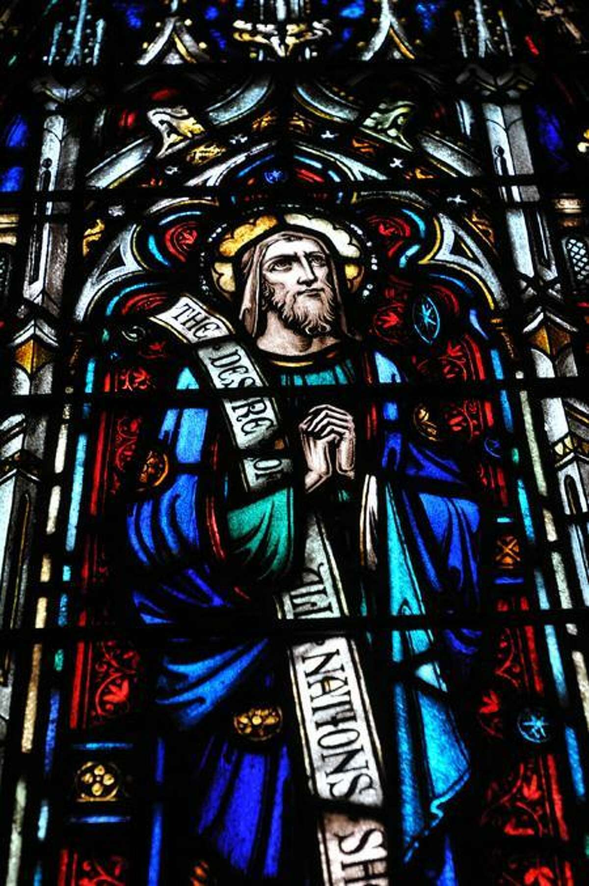 Detail of a D'Ascenzo stained glass at Trinity Episcopal Church on the Green. (Peter Casolino/Journal Register News Service)