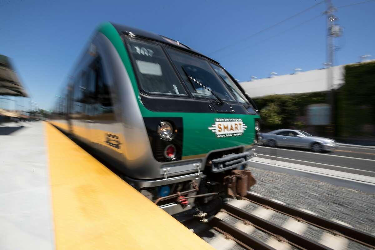 A testing Smart train leaves the Petaluma train station on Sunday, July 30, 2017 in Petaluma, CA.