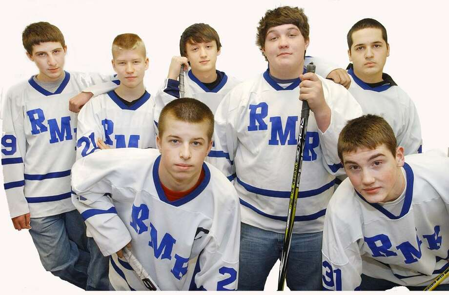 Middletown High School members of the Rocky Hill Middletown Rham Hockey team: Junior Captain-Nick Schenarts #29, front row left to right, freshman-Kolby Sprague #31 and  Back row left to right,  Freshman-Greg Gaylord #19, Freshman-Josh Peters #21, Junior-Kenny Boyd #6, Senior-Tom Rogalski #7 and Junior-Max Feitelson #13. (Catherine Avalone / The Middletown Press)