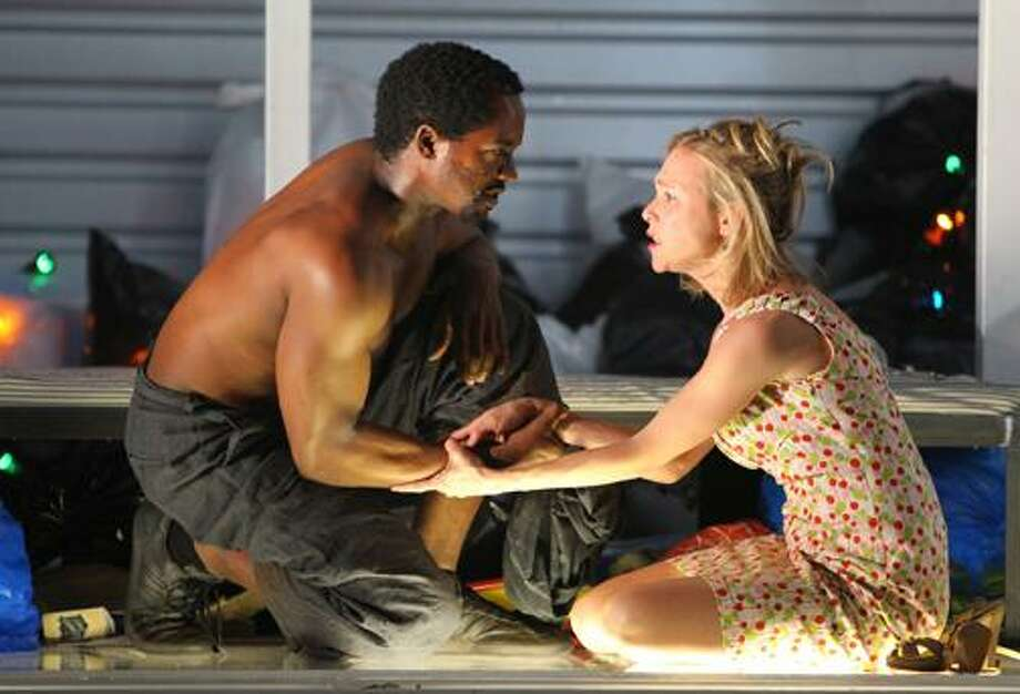 "Albert Jones as Alboury and Tracy Middendorf as Léone are seen performing on stage. For tickets ($35-$82), call the Yale Repertory Theatre, 1120 Chapel St., New Haven at (203) 432-1234 or visit <a href=""http://www.yalerep.org"">www.yalerep.org</a>. (Joan Marcus / ©2010, Joan Marcus"