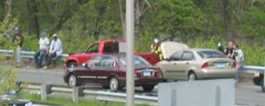 An accident on Route 9 North near Exit 16 is seen Thursday afternoon.