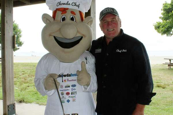 Bob Kunkel from Harbor Harvest at the Chowdafest Kickoff in Westport on Aug. 14.