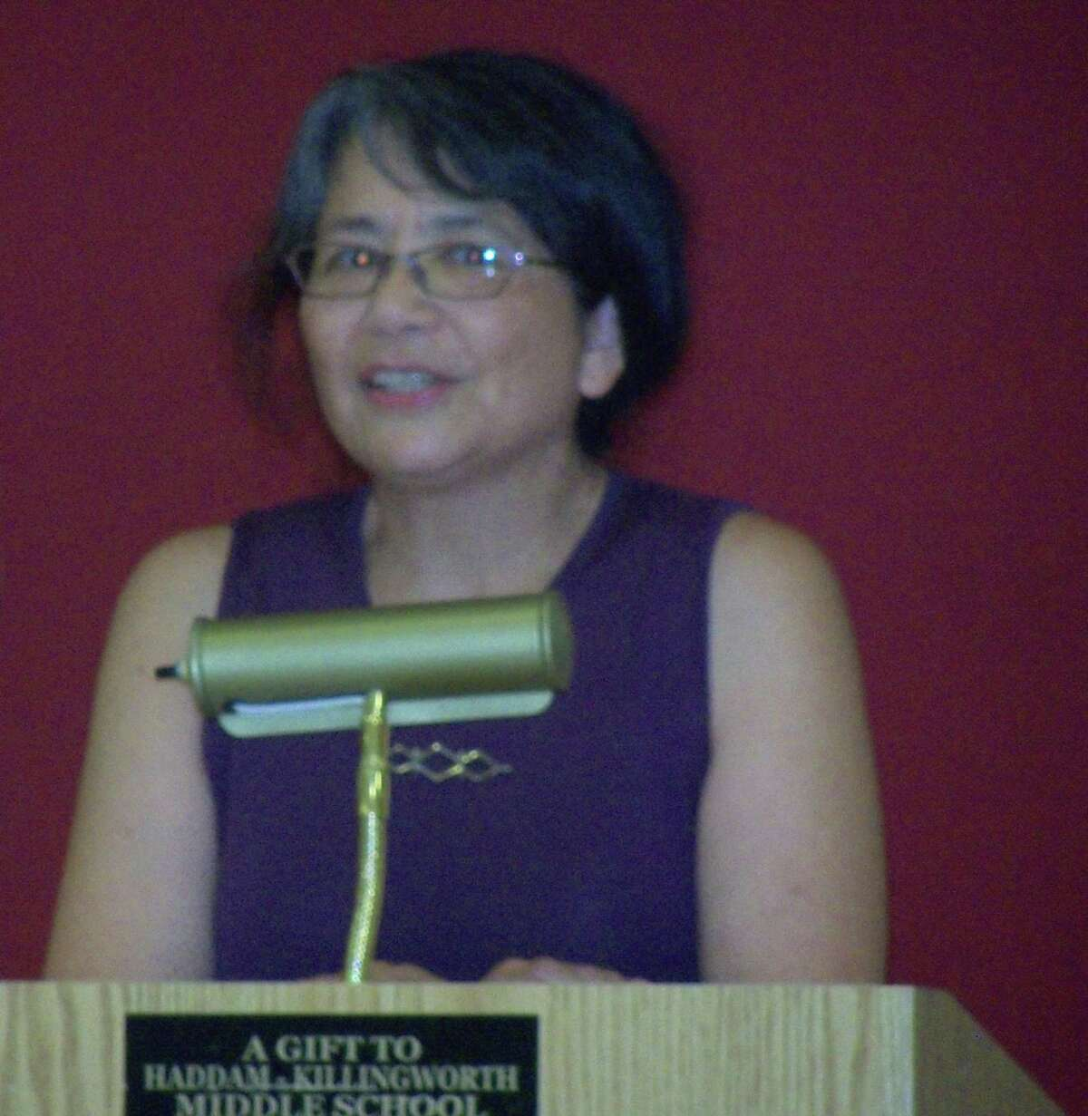 Killingworth First Selectman Catherine Iino accepts the Democratic Town Committee's nomination.