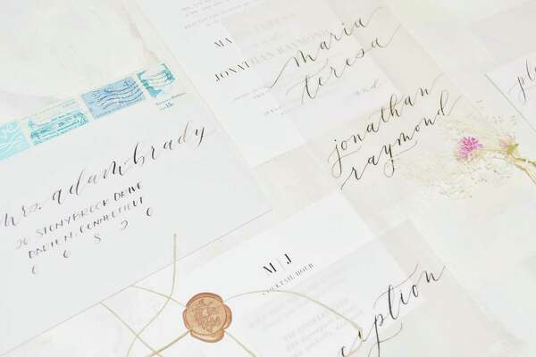 Samples of calligraphy work by Cici Chang Bowler, owner of Harper Ink Calligraphy in Darien, Conn.