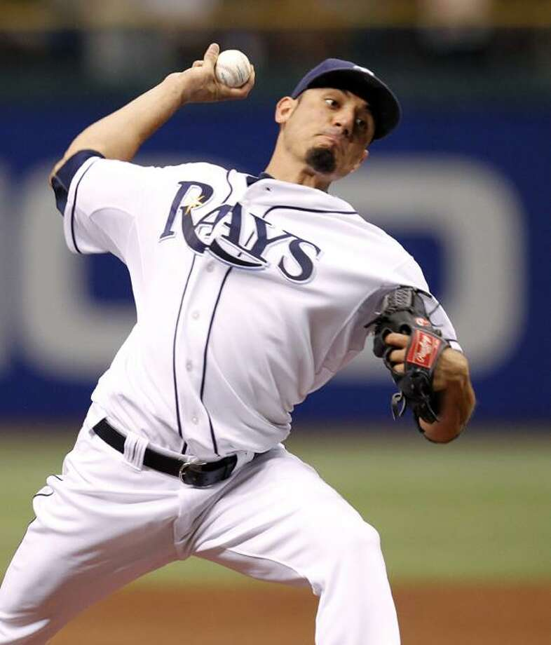Tampa Bay Rays starting pitcher Matt Garza throws in the first inning of a baseball game against the Detroit Tigers, Monday in St. Petersburg, Fla. Garza ended up throwing the first no-hitter in Tampa Bay Rays history. (AP Photo/Mike Carlson) Photo: AP / FR155492 AP