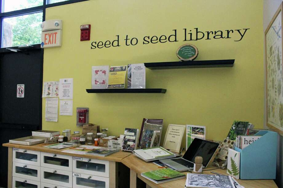 The Fairfield Public Library system loans out more than just books and movies. At the Fairfield Woods Branch, patrons can find seeds for their garden. Photo: Genevieve Reilly / Hearst Connecticut Media / Fairfield Citizen