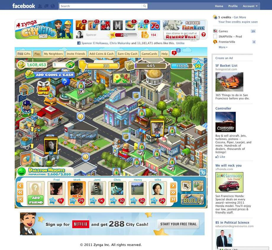 """This screen shot provided by Zynga, shows the online game """"CityVille."""" (AP Photo/Zynga) NO SALES Photo: ASSOCIATED PRESS / AP2011"""