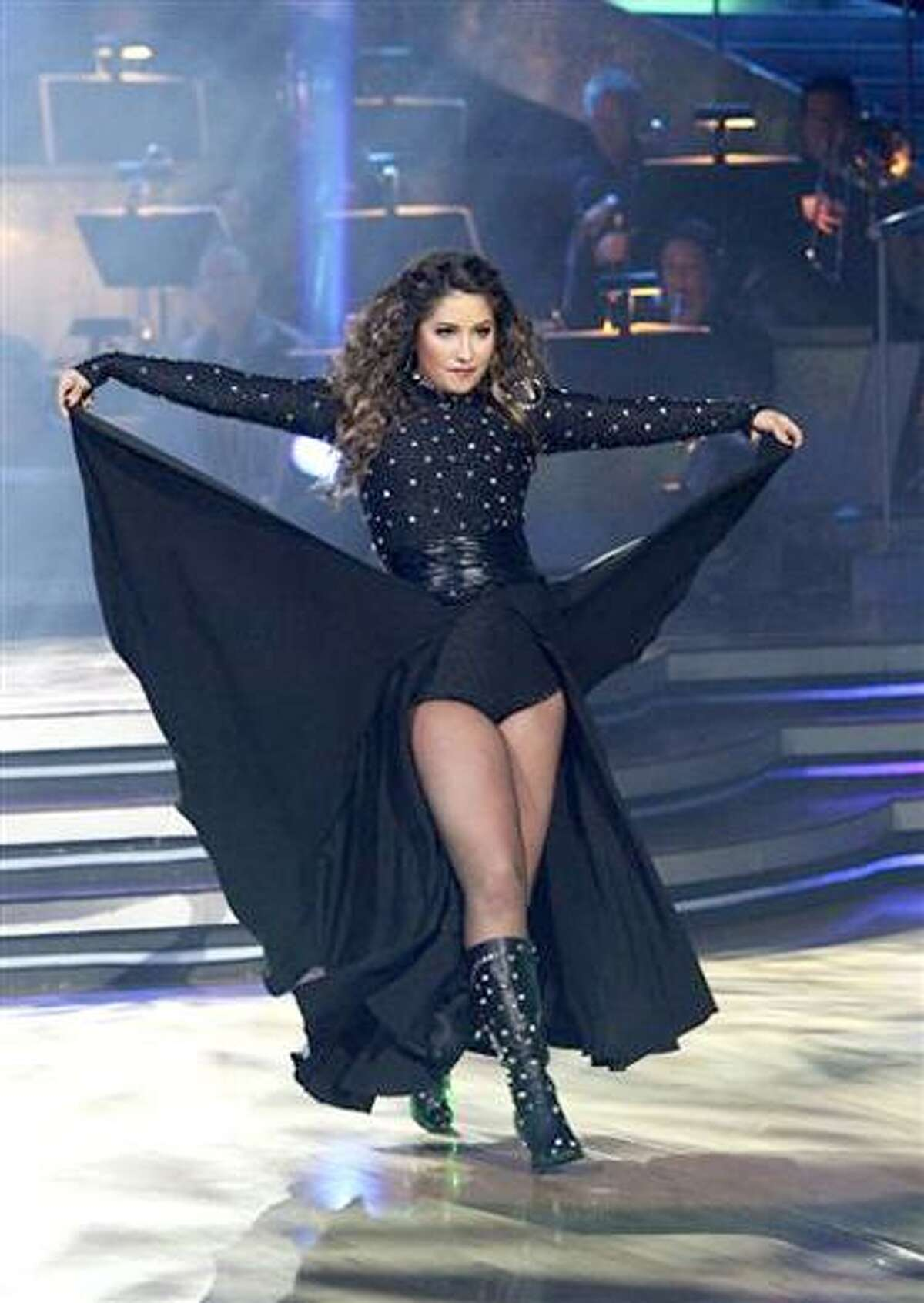 In this publicity image released by ABC, Bristol Palin performs during the celebrity dance competition series,