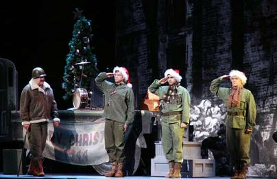 Left to right: Erick Devine, Tony Lawson, Denis Lambert and John Scherer in a scene from Irving Berlin's White Christmas.