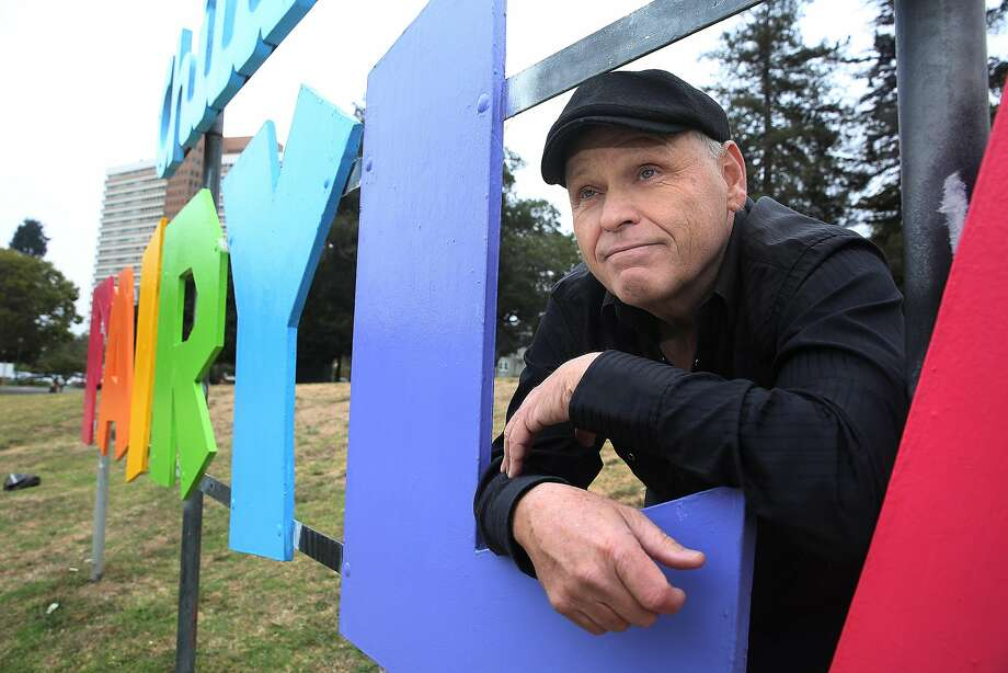 Director Finn Taylor  talks about his film 'Unleashed', about a womanÕs dog and cat turning into two perfect guys on Monday, August 14, 2017, in Oakland, Calif.  Some of the film takes place around the Children's Fairyland sign at Lake Merritt. Photo: Liz Hafalia, The Chronicle