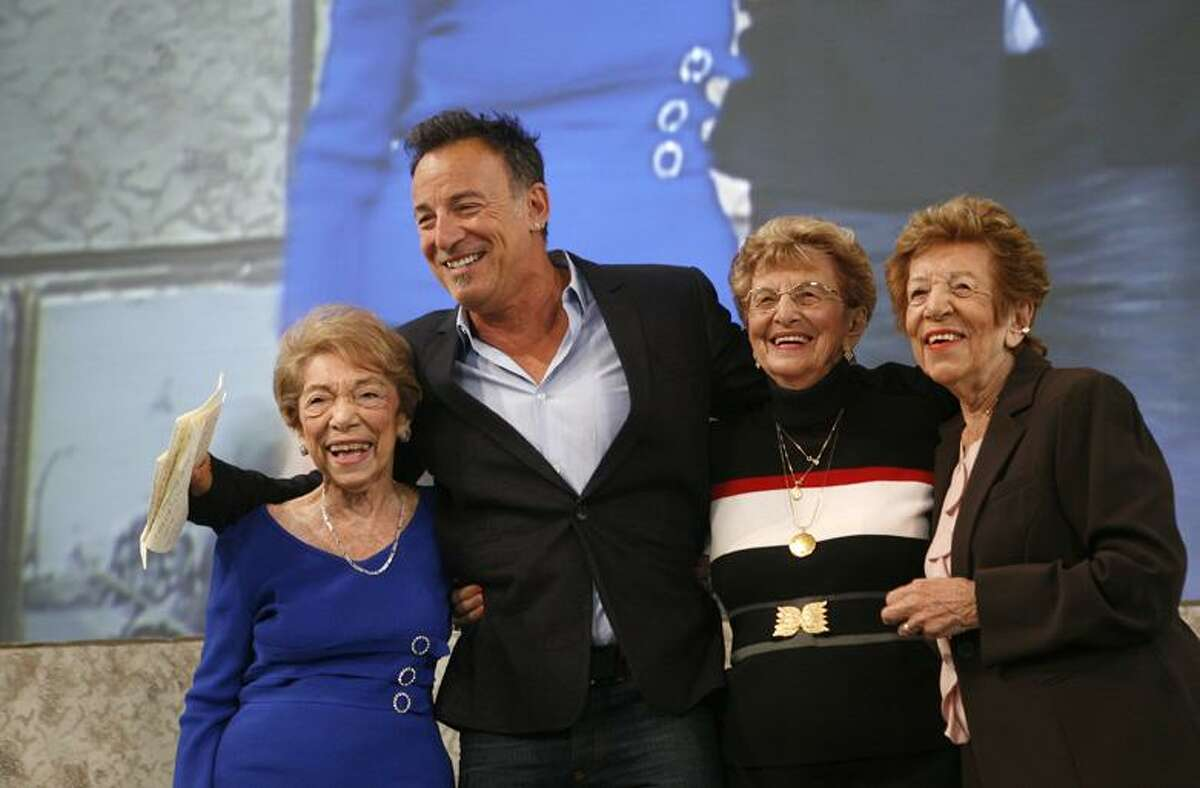 Singer Bruce Springsteen poses with, from left, his aunt Dora Kirby, 90, mother Adele Springsteen, 85, and aunt Ida Urbelis, 87, after being honored at the Ellis Island Family Heritage Awards Thursday on Ellis Island in New York. (AP)