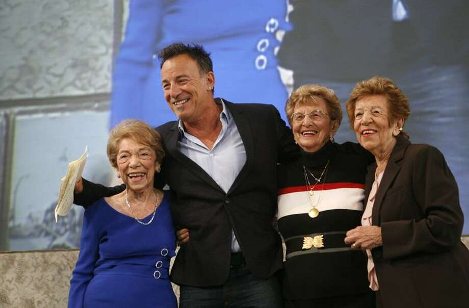 Singer Bruce Springsteen poses with, from left, his aunt Dora Kirby, 90, mother Adele Springsteen, 85, and aunt Ida Urbelis, 87, after being honored at the Ellis Island Family Heritage Awards Thursday on Ellis Island in New York. (AP) Photo: AP / FR103966 AP