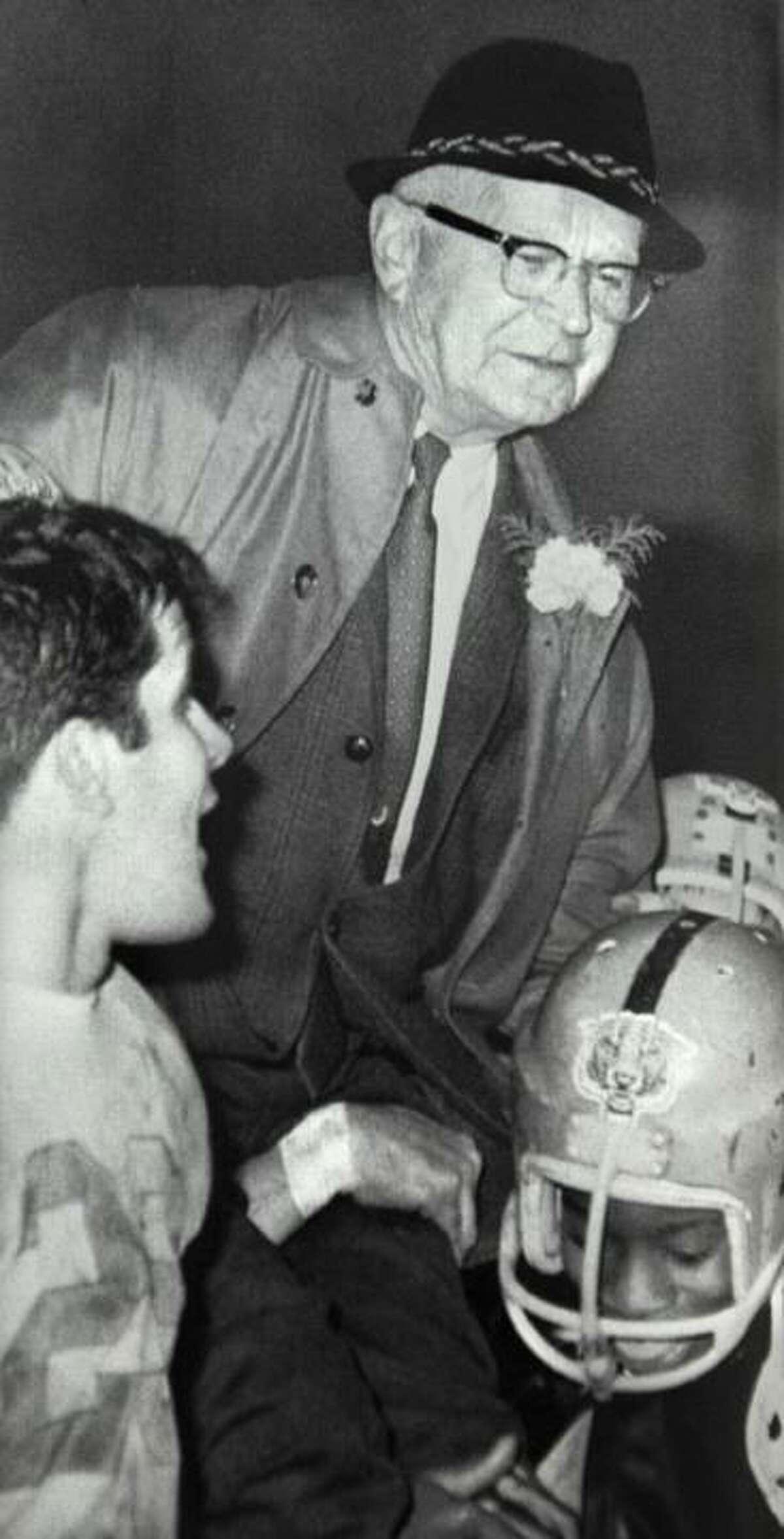 Courtesy Middletown High School 1967 Cauldron An undefeated season, Middletown High School Tigers head coach Waino Fillback. Ed Dzialo is at left.