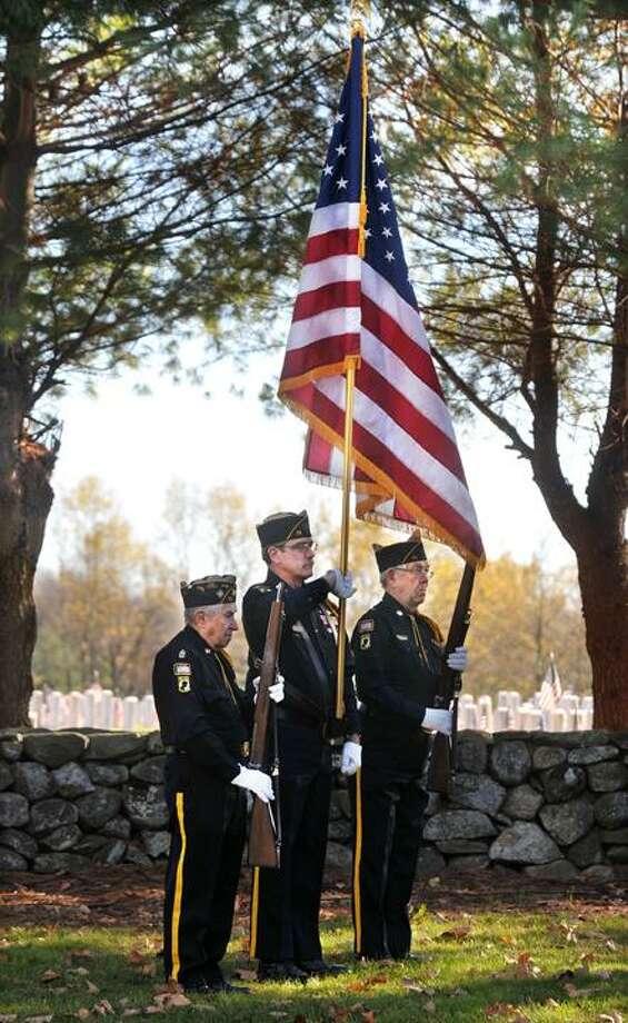 The Middletown Press  11.11.10  Commander of the Catholic War Veterans Joseph Kokozska, at right and Commander of District 7, Tony Gaunichaux. / TheMiddletownPress