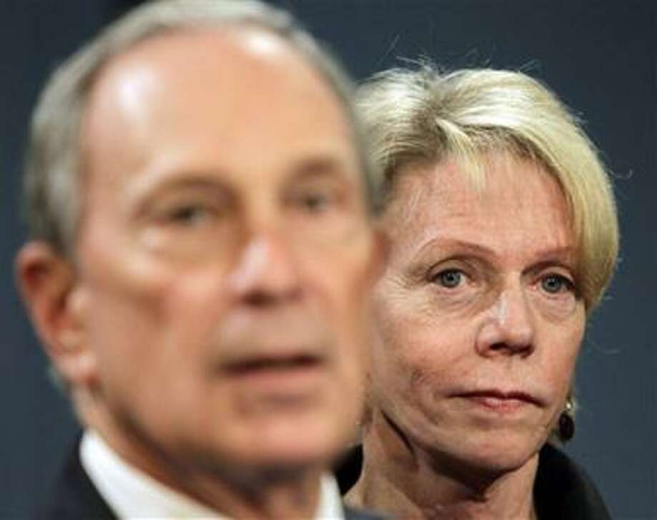 New York City Mayor Michael Bloomberg, left, speaks while the new Chancellor of Public Schools Cathie Black looks on during a news conference at City Hall in New York, Tuesday, Nov. 9, 2010.  Bloomberg named Black, a top publishing executive, to head the nation's largest school system on Tuesday after announcing that New York City's longterm chancellor was stepping down. (AP Photo/Seth Wenig) Photo: AP / AP