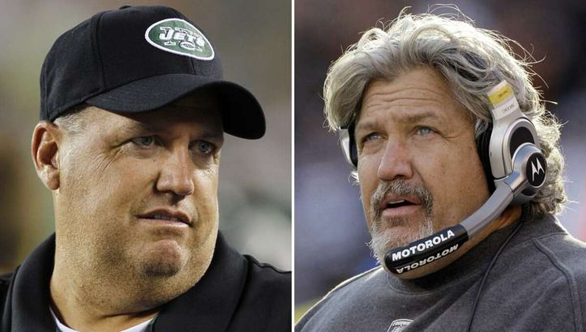 These are 2010 file photos showing New York Jets head coach Rex Ryan, left, and Cleveland Browns defensive coordinator Rob Ryan, right. The Ryan boys followed their dad into the NFL. This week they'll renew their sibling rivalry when Rex brings his Jets to Cleveland to face a Browns defense coached by his brother. (AP Photo/File)