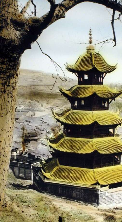 An Old Sichuan Pagoda, George Neumann, digital print from lantern slide.