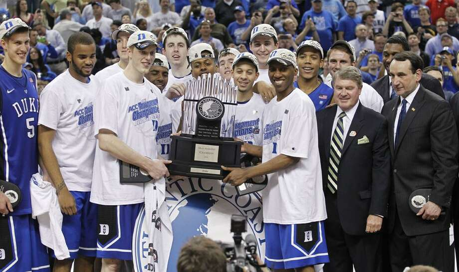 after Duke's 75-58 win in the NCAA college basketball championship game of the Atlantic Coast Conference tournament in Greensboro, N.C., Sunday, March 13, 2011. (AP Photo/Bob Leverone)
