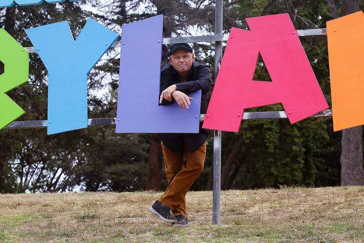 Director Finn Taylor  talks about his film 'Unleashed', about a woman�s dog and cat turning into two perfect guys on Monday, August 14, 2017, in Oakland, Calif.  Some of the film takes place around the Children's Fairyland sign at Lake Merritt.