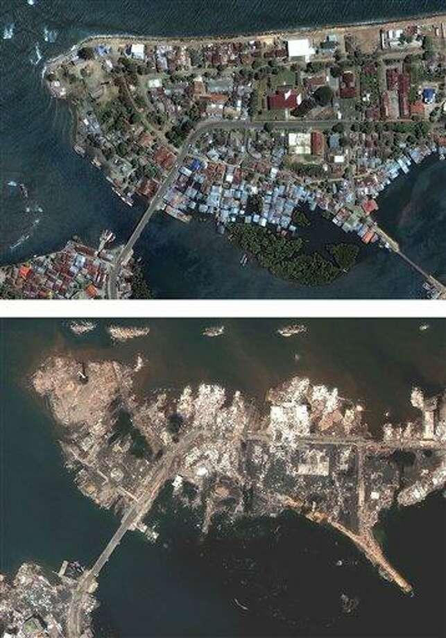 FILE - In these file photos released Dec. 30, 2004 by DigitalGlobe, the shoreline of Banda Aceh in Indonesia is shown on June 23, 2004, above, and Dec. 28, 2004, below, after a tsunami hit the region.  Survivors of the 2004 tsunami that started off Indonesia closely watched and remembered as images of the Friday, March 11, 2011 disaster in northern Japan circulated throughout the region. An 8.9-magnitude earthquake struck Japan on Friday, causing massive tsunami waves to crash into the shores, devastating the northeastern coast of the country and sparking tsunami warnings as far away as the United States' west coast. (AP Photo/DigitalGlobe, File) NO SALES, MANDATORY CREDIT DIGITALGLOBE Photo: AP / AP2004