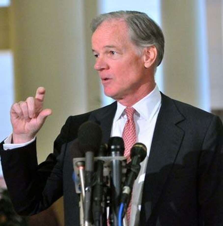 Candidate for Governor, Tom Foley, at his Hartford Press conference on Friday.  (Melanie Stengel/Register)