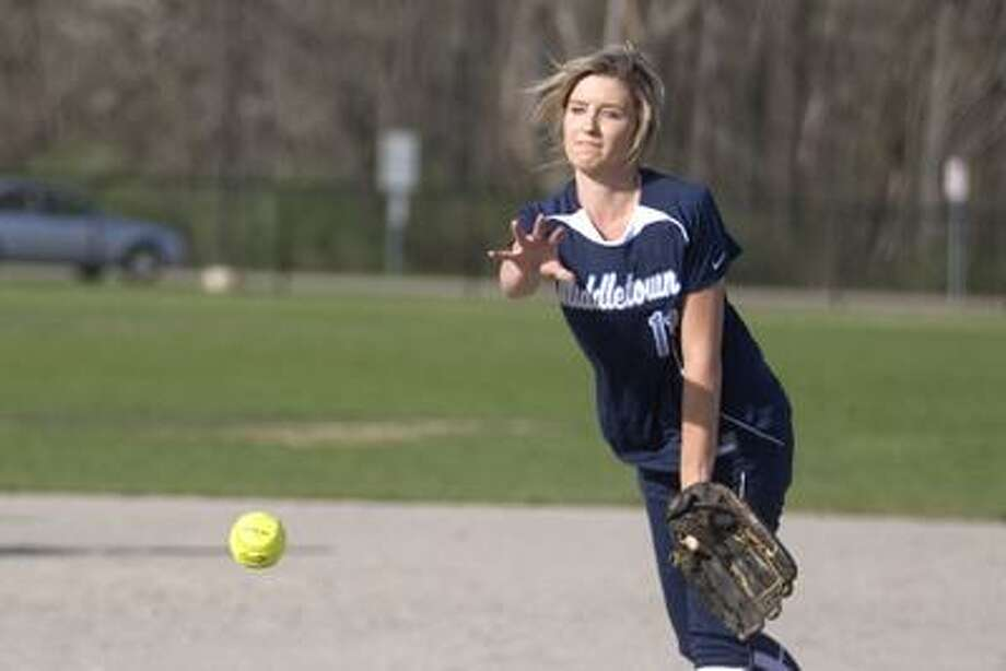Middletown High softball pitcher Alysha Pieta no-hit Hall High School of West Hartford Monday in a 2-0 win for the Blue Dragons. (Max Steinmetz / Special to the Press)