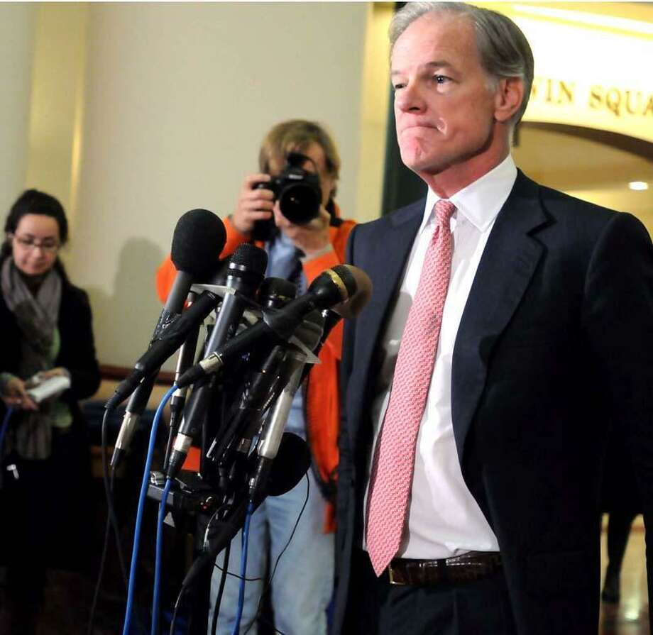 Candidate for Governor, Tom Foley, at his Hartford Press conference.  Melanie Stengel/Register  11/05/10