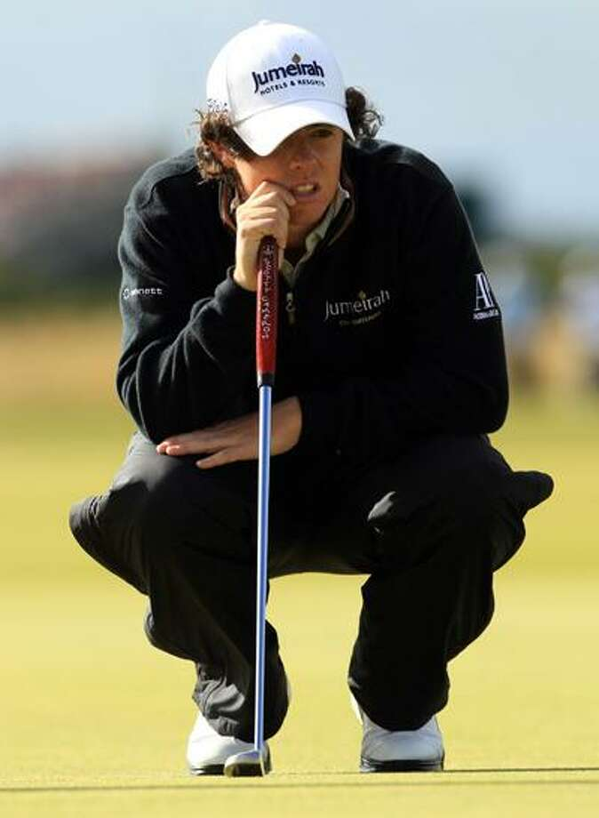 Northern Ireland's Rory McIlroy waits to putt on the ninth green during the second round of the British Open Golf Championship on the Old Course at St. Andrews, Scotland, Friday. (AP) Photo: ASSOCIATED PRESS / AP