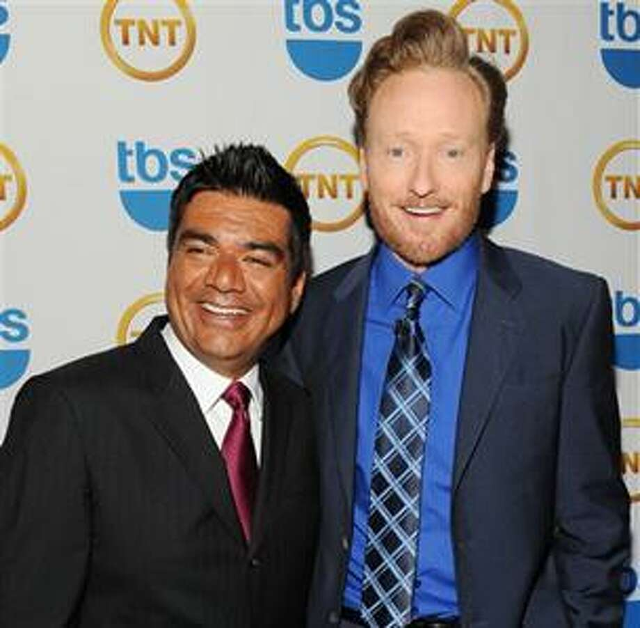 FILE - In this May 19, 2010 file photo, talk show hosts George Lopez, left, and Conan O'Brien attend the TNT and TBS Upfront presentation at the Hammerstein Ballroom in New York. (AP Photo/Evan Agostini, file) Photo: AP / AGOEV
