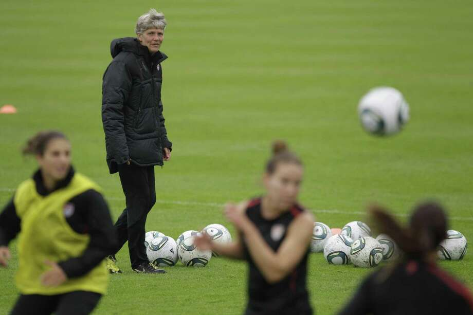 United States head coach Pia Sundhage during a training session in preparation for a match against Sweden during the Women's Soccer World Cup in Wolfsburg, Germany, Monday, July 4, 2011. (AP Photo/Marcio Jose Sanchez) Photo: ASSOCIATED PRESS / AP2011