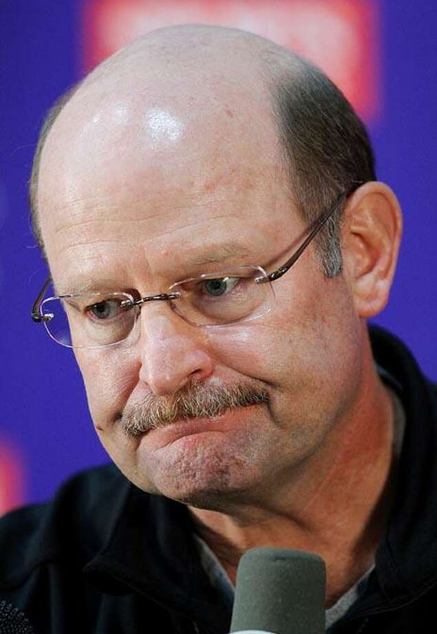 Minnesota Vikings head coach Brad Childress addresses the media during a news conference at the team's NFl football training facility in Eden Prairie, Minn., Wednesday.(AP Photo/Andy King) Photo: AP / FR51399 AP