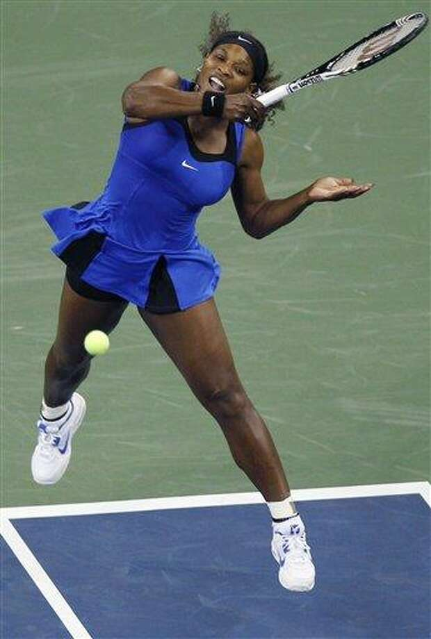 Serena Williams, of the United States, returns against Bojana Jovanovski, of Serbia, during the first round of the U.S. Open tennis tournament in New York, Tuesday, Aug. 30, 2011. (AP Photo/Charles Krupa) Photo: AP / AP