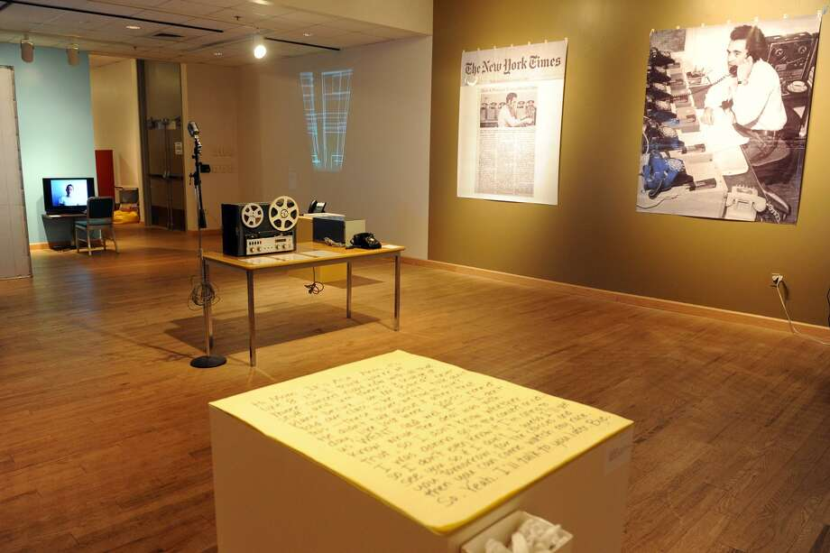 """In this Feb. 23, photo, the exhibit """"'It's for you': Conceptual Art and the Telephone"""" is pictured at the Housatonic Museum of Art at Housatonic Community College in Bridgeport. (AP Photo/Connecticut Post, Ned Gerard) Photo: AP / Connecticut Post"""
