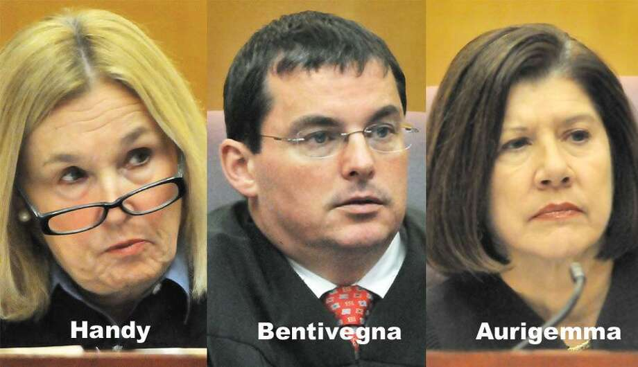 Judges Susan B. Handy, James M. Bentivegna and Julia L. Aurigemma will all deliberate on the charge of murder in the Stephen Morgan trial.