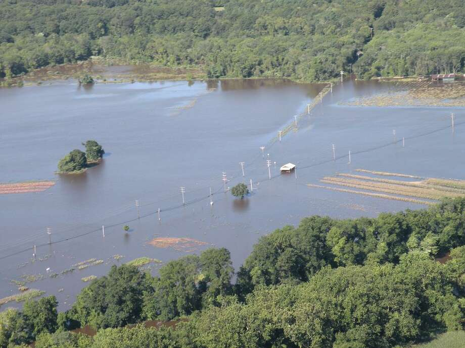 The Connecticut National Guard took Gov. Dannel P. Malloy on a helicopter flight across the State of Connecticut the day after Hurricane Irene struck to provide the Governor with an aerial survey of the storm's damage across the state. Photo from the National Guard