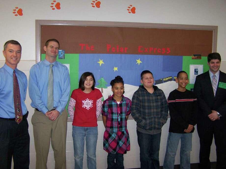 Principal Jeff Fournier, school psychologist Eric Leaf, Ava Lee, Ray-Chelle Cabassa, Alex Swander Brandon Campell and Mayor Drew.