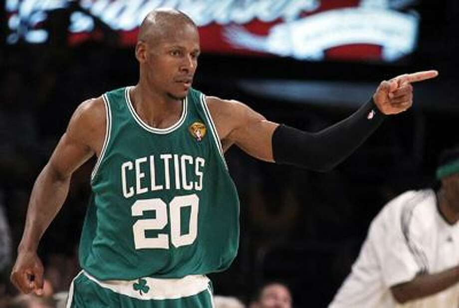 Boston Celtics guard Ray Allen reacts after scoring against the Los Angeles Lakers during the first half of Game 2 of the NBA basketball finals Sunday, June 6, 2010, in Los Angeles. (AP) Photo: AP / AP