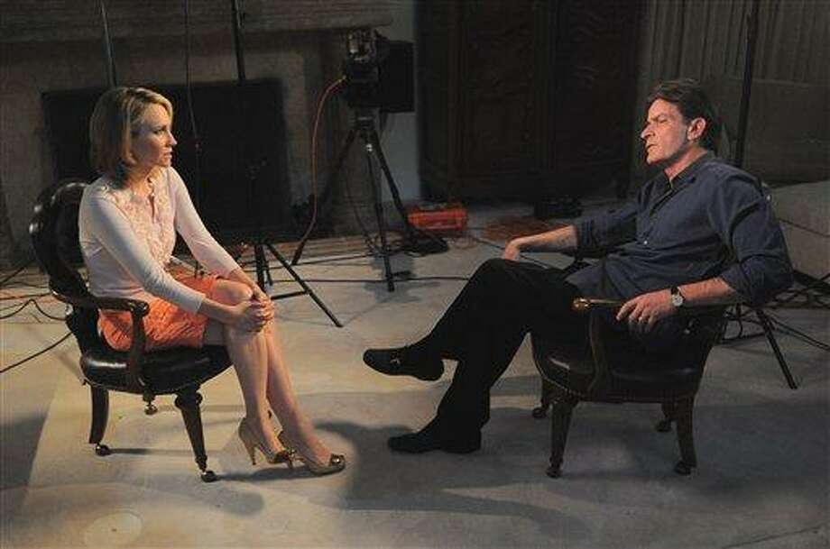 "In this photo provided by ABC News, Andrea Canning interviews actor Charlie Sheen Saturday, Feb. 26, 2011, in Los Angeles for a Special Edition of 20/20 to be aired Tuesday. Sheen told Canning he is 100 percent clean and plans to show up for work despite CBS's pulling the plug on this season's production of ""Two and a Half Men."" (AP Photo/ABC News) Photo: AP / ABC NEWS"