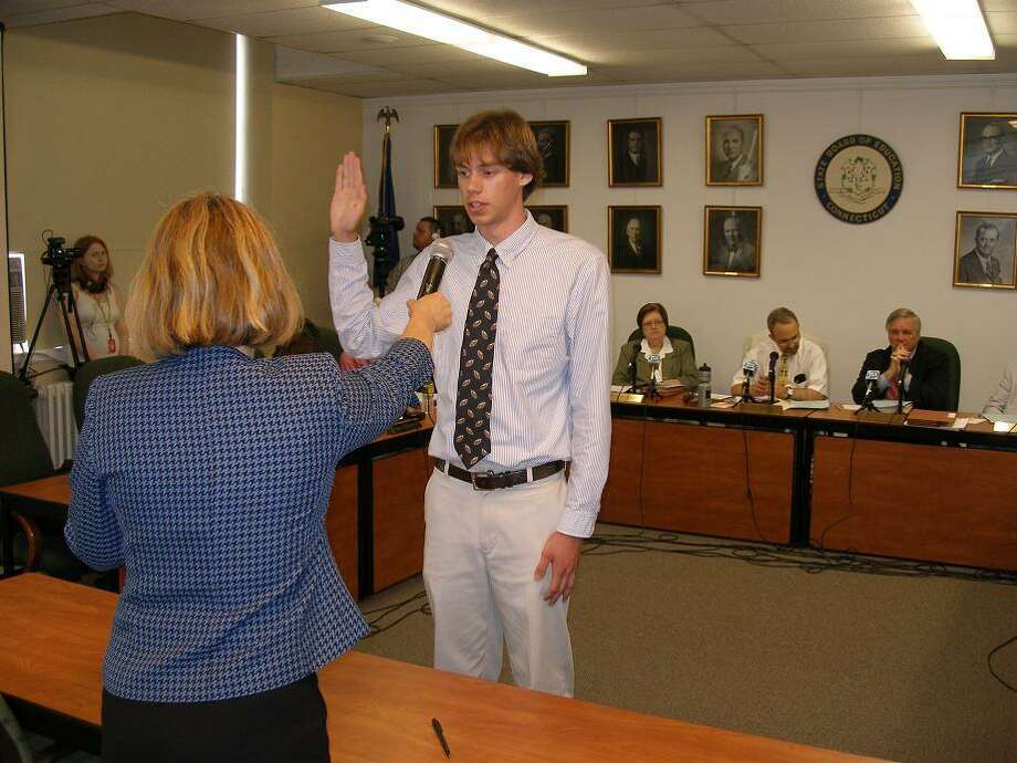 Patrick Campbell takes the oath of office. (Submitted photo)